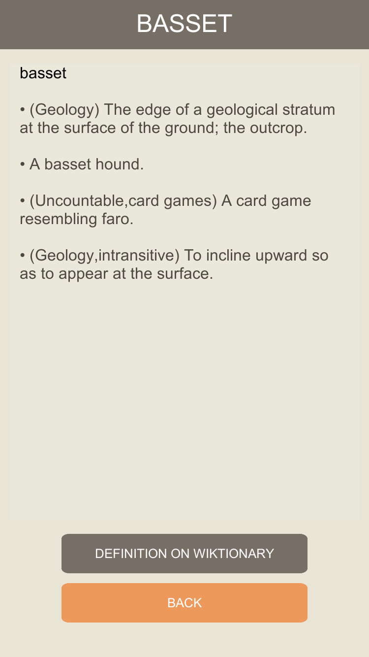 Motaku, iPhone and Android screenshot: Displaying a definition